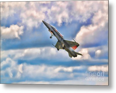 Canadian Cf18 Hornet Taking Flight  Metal Print by Cathy  Beharriell