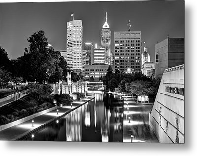 Canal Walk To Indianapolis Indiana's Skyline Metal Print by Gregory Ballos