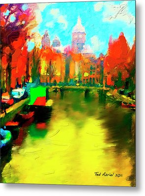 Canals Of Amsterdam Metal Print by Ted Azriel
