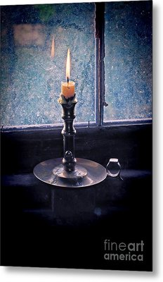 Candle In The Window Metal Print by Jill Battaglia