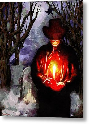 Candle Light At The Graveyard Metal Print by Tyler Robbins