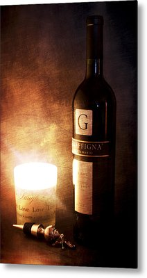 Candle Wine Metal Print by Peter Chilelli