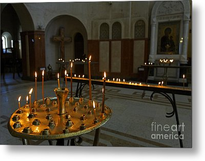 Candles Inside The Tsminda Sameba Cathedral Tbilisi Metal Print by Robert Preston