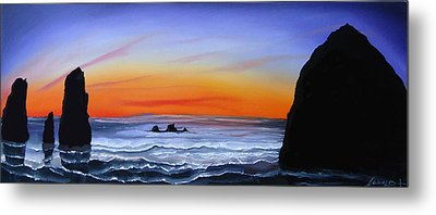 Cannon Beach At Sunset 16 Metal Print by Portland Art Creations