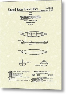 Canoe 1963 Patent Art Metal Print by Prior Art Design