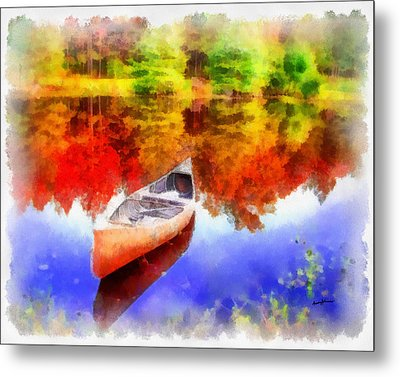 Canoe On Autumn Pond Metal Print by Anthony Caruso