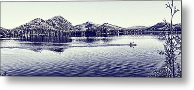 Canoe On The Lake Metal Print by Michel DesRoches