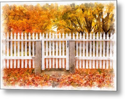 Canterbury Shaker Village Picket Fence  Metal Print by Edward Fielding
