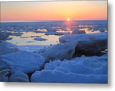 Cape Cod Bay Ice Sunset Metal Print by John Burk