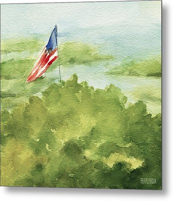 Cape Cod Beach With American Flag Painting Metal Print by Beverly Brown Prints