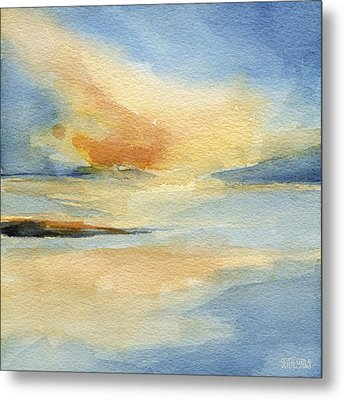 Cape Cod Sunset Seascape Painting Metal Print by Beverly Brown Prints