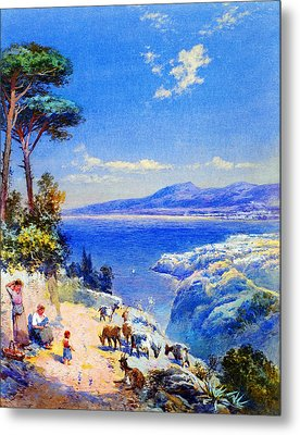 Cape Miseno With Castelamane Beyond Metal Print by Celestial Images