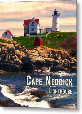 Cape Neddick Lighthouse  At Sunset  Metal Print by Elaine Plesser