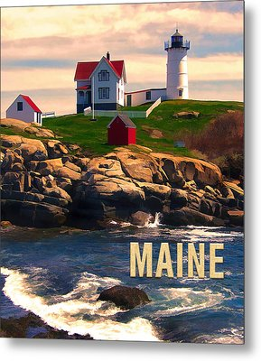 Cape Neddick Lighthouse Maine  At Sunset  Metal Print by Elaine Plesser