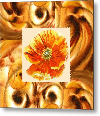 Cappuccino Abstract Collage Poppy Metal Print by Irina Sztukowski