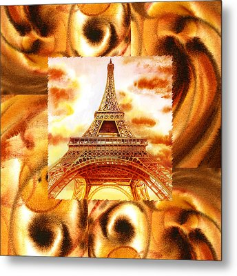 Cappuccino In Paris Abstract Collage Eiffel Tower Metal Print by Irina Sztukowski