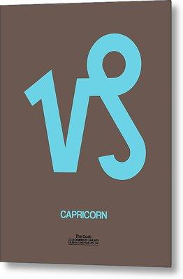 Capricorn Zodiac Sign Blue Metal Print by Naxart Studio