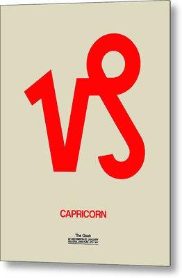 Capricorn Zodiac Sign Red Metal Print by Naxart Studio