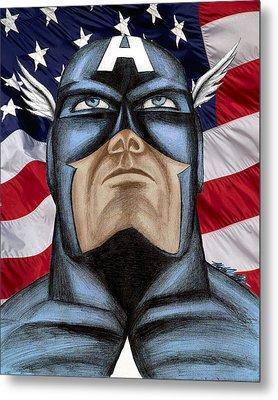Captain America Metal Print by Michael Mestas