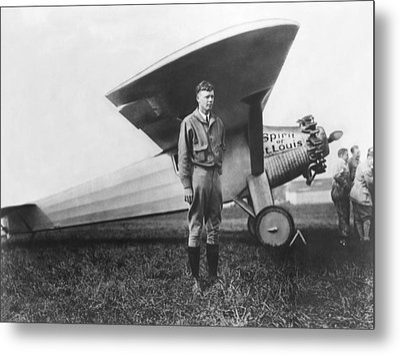 Captain Charles Lindbergh Metal Print by Underwood Archives