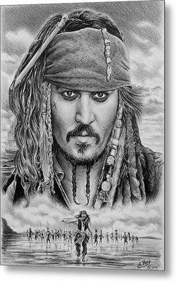 Captain Jack Sparrow Metal Print by Andrew Read