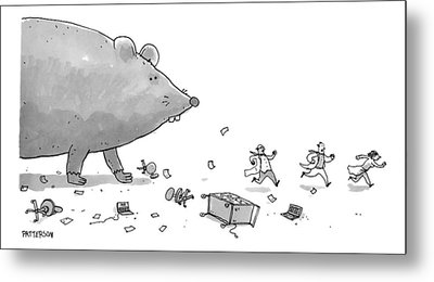 Captionless. Cctk. A Giant Rat Chases Scientists Metal Print by Jason Patterson