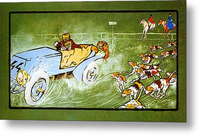 Car And Hunting Fox Metal Print by Celestial Images