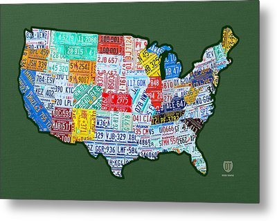 Car Tag Number Plate Art Usa On Green Metal Print by Design Turnpike