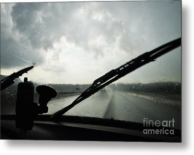 Car Windshield By Heavy Rains On Road Metal Print by Sami Sarkis