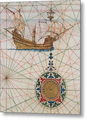 Caravel In Ocean Metal Print by Lazaro Luis