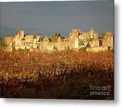 Carcassonne In Fall Metal Print by France  Art