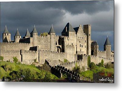 Carcassonne Stormy Skies Metal Print by Robert Lacy