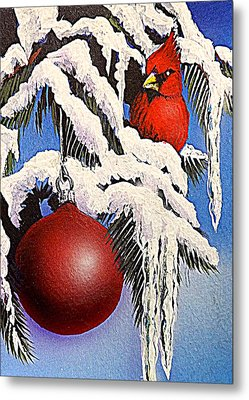 Cardinal One Ball Metal Print by Darren Robinson