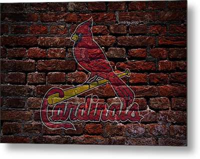 Cardinals Baseball Graffiti On Brick  Metal Print by Movie Poster Prints