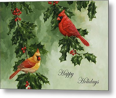 Cardinals Holiday Card - Version Without Snow Metal Print by Crista Forest