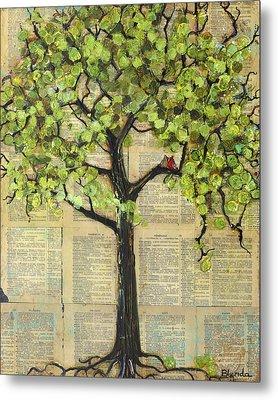 Cardinals In A Tree Metal Print by Blenda Studio