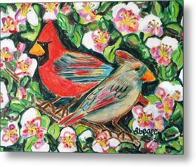 Cardinals In An Apple Tree Metal Print by Diane Pape