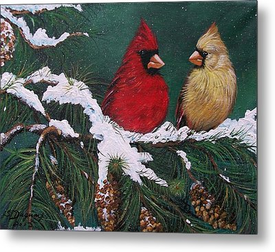 Cardinals In The Snow Metal Print by Sharon Duguay