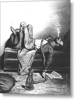 Caricature Of The Romantic Writer Searching His Inspiration In The Hashish Metal Print by French School
