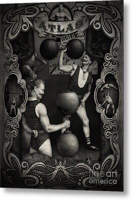 Carnival Banner - Atlas The Strong Man Metal Print by Gregory Dyer