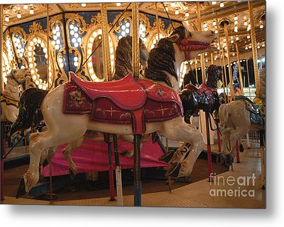 Carnival Festival Merry Go Round Carousel Horses  Metal Print by Kathy Fornal