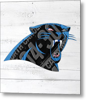 Carolina Panthers Football Team Retro Logo Recycled North Carolina License Plate Art Metal Print by Design Turnpike