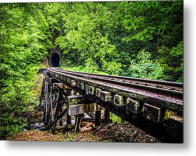 Carolina Railroad Trestle Metal Print by Debra and Dave Vanderlaan