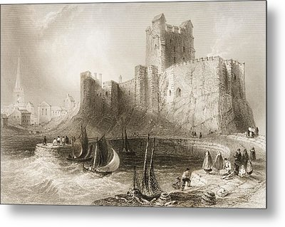 Carrickfergus Castle, County Antrim, Northern Ireland, From Scenery And Antiquities Of Ireland Metal Print by William Henry Bartlett