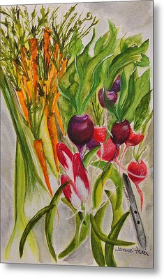 Carrots And Radishes Metal Print by Jamie Frier