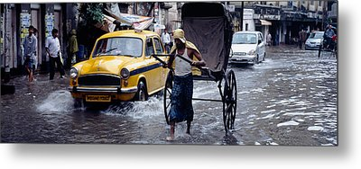 Cars And A Rickshaw On The Street Metal Print by Panoramic Images
