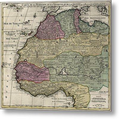 Carte De La Barbarie Le La Nigritie Et Del La Guinee  1792 Metal Print by Compass Rose Maps