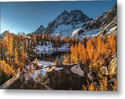 Cascades Ring Of Larches Metal Print by Mike Reid