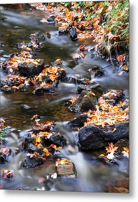 Cascading Autumn Leaves On The Miners River Metal Print by Optical Playground By MP Ray