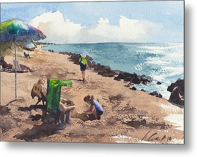Lady At The Beach Metal Print by Max Good